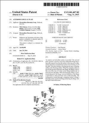 Anterior Cervical Plate Patent 9101407