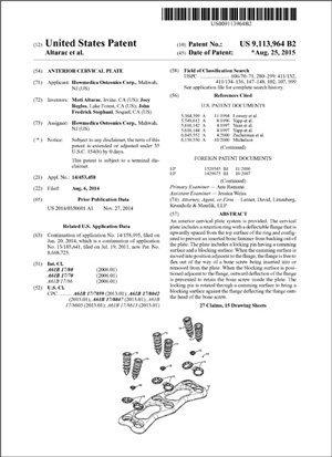Anterior Cervical Plate Patent 9113964