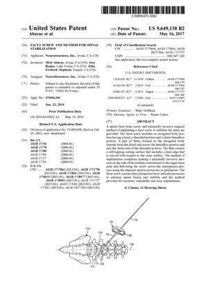 Facet Screw Patent 9649138