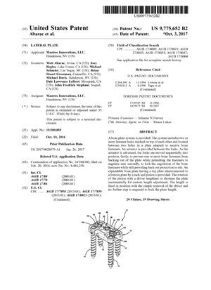 Lateral Plate Patent 9775652