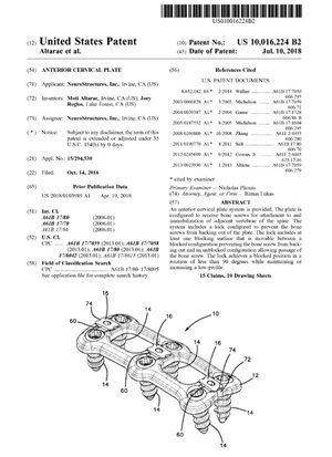 Anterior Cervical Plate Patent 10016224